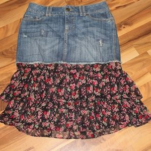 ana Denim Tiered Floral Ruffled Skirt Boho Hippie